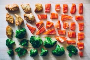 Elemente einer Low Carb-Kost: Hühnerfleisch, Paprika, Brokkolo