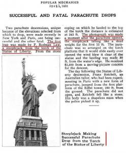 Zeitungsbericht über die Sprünge der Basejump-Pioniere Fredrick Rodman Law und Franz Reichelt