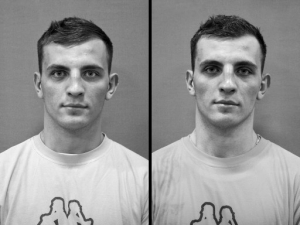 Portrait eines Boxers vor und nach dem Training