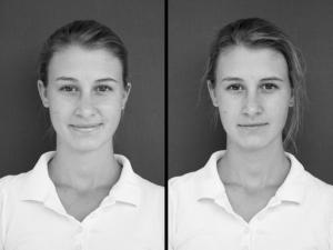 Portrait einer Dressur-Reiterin vor und nach dem Training