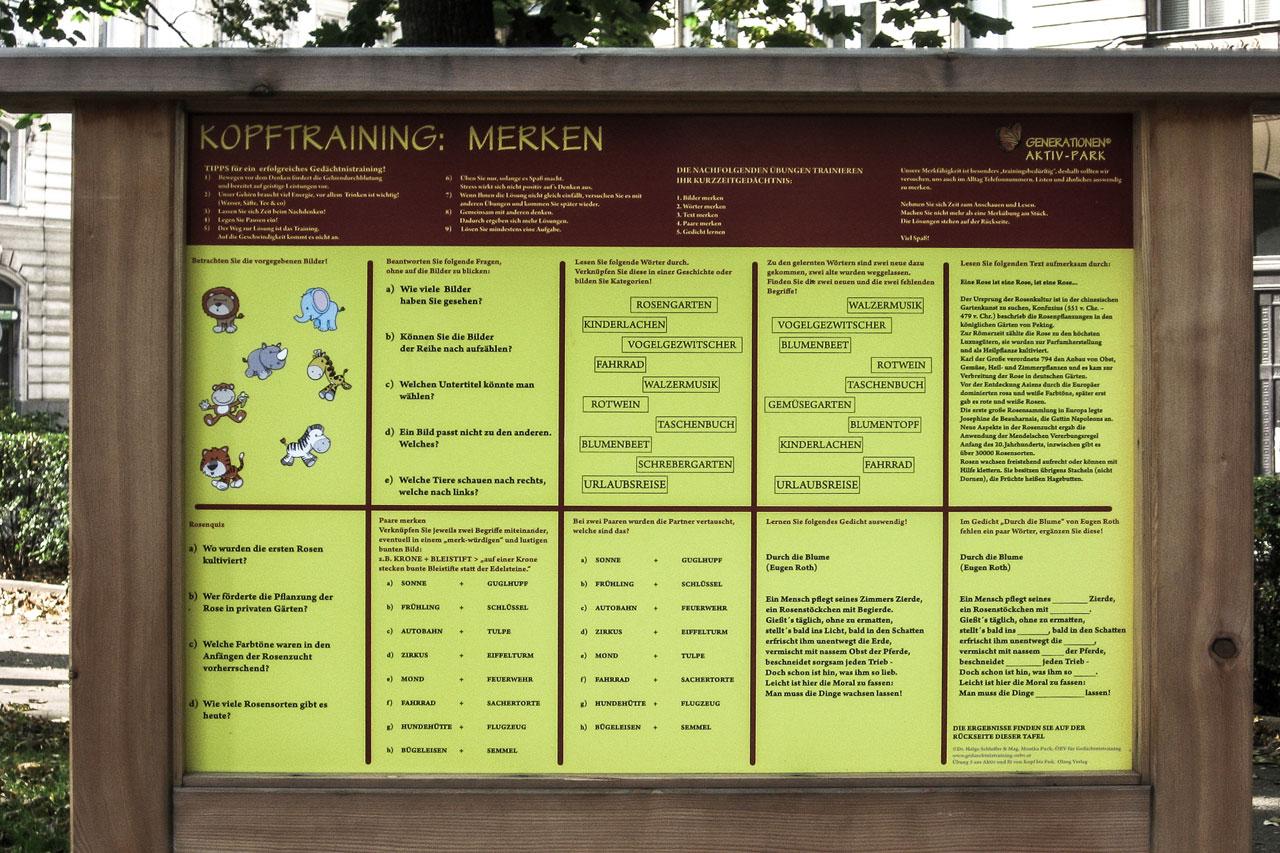 Tafel mit Gedächtnistraining im Generationen-Aktiv-Park Wien Rossau