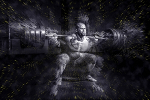 Muskulöser Mann stemmt Langhantel in KNiebeuge