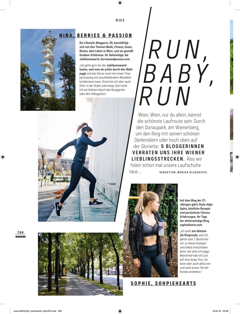 """Kopie von Seite 1 der Bloggerinnen-Lauftipps aus der Zeitschrift """"Woman"""", """"WIen Extra"""" 2018"""