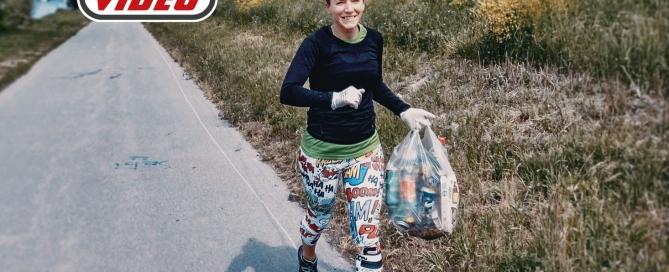 "Fitnessbloggerin Bernadette Hörner testet den Fitnesstrend ""Plogging"" auf der Wiener Donauinsel"